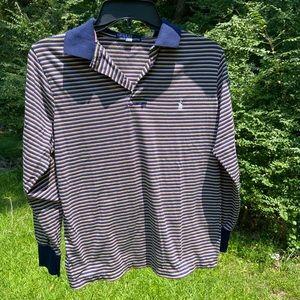 80s Blue Long Sleeve Polo